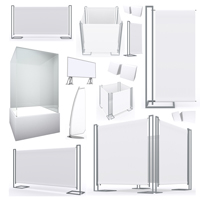Collection of blank banners display new design aluminum frame template for design work,isolate on white background